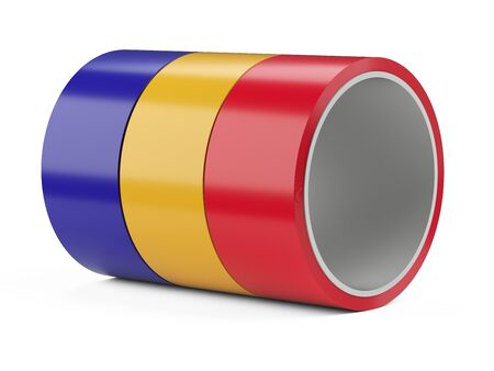 Roll of color insulating scotch duct tape set. Isolated on white background 3d illustration.