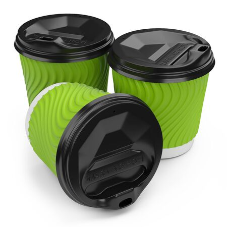 Takeaway coffee cup out disposable paper with plastic lid blank mock up cup. 3d illustration isolated on a white background.