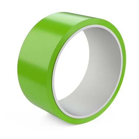 Roll of green insulating scotch duct tape. Isolated on white background 3d illustration. Stock fotó