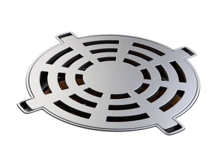 Sewer hatch with closed lid manhole hole cover. 3d illustration isolated over white background.