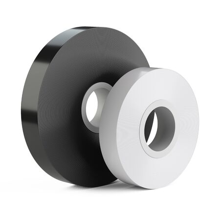 Roll of insulating scotch duct tape set. Isolated on white background 3d illustration.