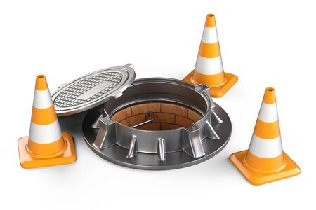 Open manhole and traffic cones. 3d illustration isolated on a white background. Stock Photo