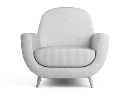 White color armchair. Style modern chair isolated on a white background - front view. 3d illustration.