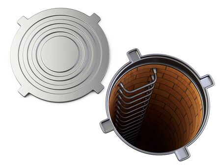 Sewer hatch with open lid manhole hole cover. 3d illustration isolated over white background.
