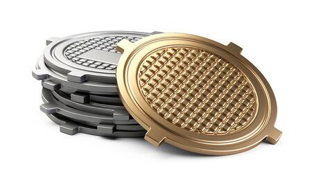 Stack of covers for sewer manhole - one golden cap. 3d illustration isolated over white background.