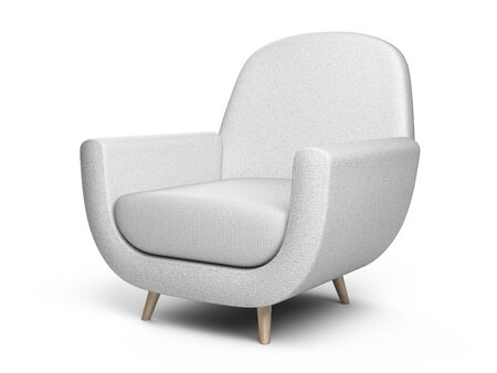 White color armchair. Style modern chair isolated on a white background. 3d illustration.