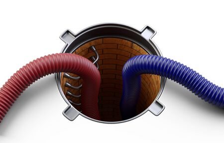 Sewer hatch with open lid manhole hole cover and red, blue big crimped suction hoses for waste disposal. 3d illustration isolated over white background.