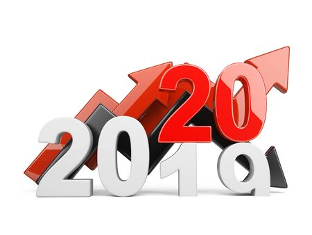 2020 2019 change concept. Represents the new year symbol with graph. 3D illustration isolated on white background.