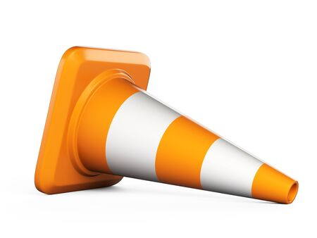 Traffic cone. Road sign. 3d illustration isolated over white background.