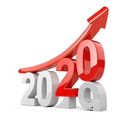 2019 2020 change concept with red arrow UP. Represents the new year symbol with graph arrows - view front.