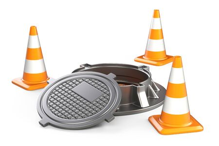Open manhole and traffic cones. 3d illustration isolated on a white background. Stock fotó