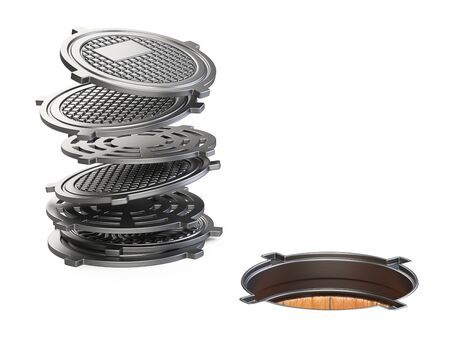 Sewer hatch with open lid manhole hole stack of covers. 3d illustration isolated over white background.