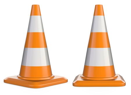 Traffic cones. Road sign. 3d illustration isolated over white background.