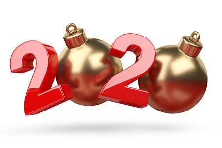 2020 concept. New year golden and red symbol with ?hristmas tree toy. 3D illustration isolated on white background. 写真素材
