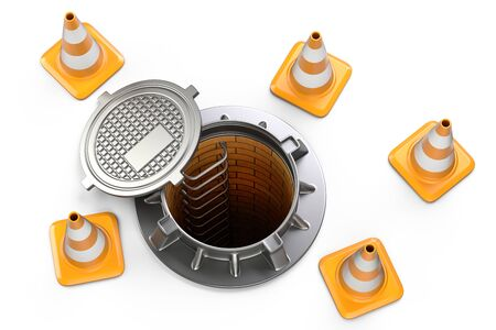 Open manhole and traffic cones - top view. 3d illustration isolated on a white background. Stock Photo