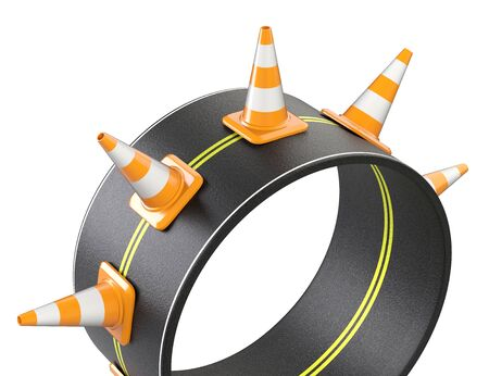 Junction road intersection ring shaped and traffic cones. 3d illustration isolated on a white background.
