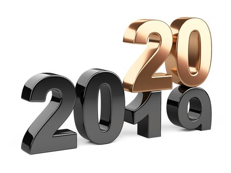 2019 2020 change concept. Represents the new year black and golden symbol. 3D illustration isolated on white background.