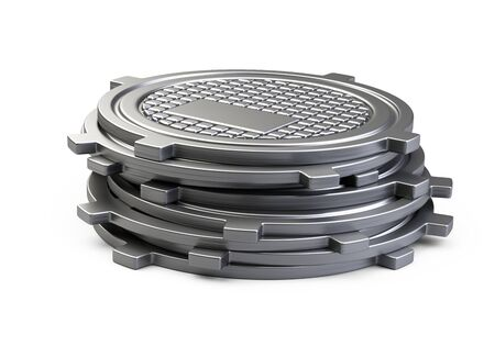 Stack of covers for sewer manhole. 3d illustration isolated over white background.