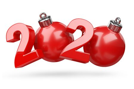2020 concept. New year red symbol with christmas tree toy. 3D illustration isolated on white background.
