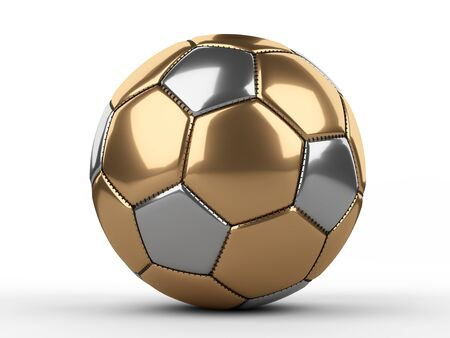 Golden soccer ball icon. 3d illustration isolated on a white background.