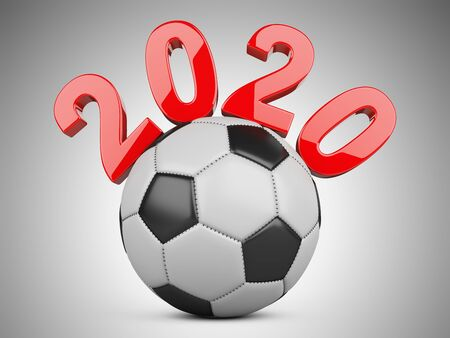 Football 2020. Soccer ball 3d illustration sign isolated on grey background. Stock fotó
