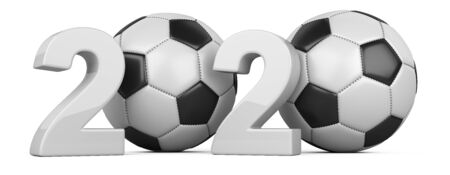 Football 2020. Soccer ball 3d illustration sign isolated on white background.