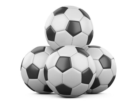 Pile of soccer balls isolated on white background. High resolution 3d illustration on a white background.