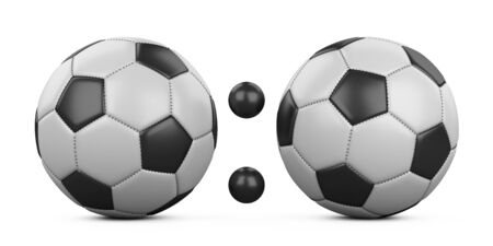 Soccer match score 0:0 from two soccer balls. 3d illustration isolated on a white background.