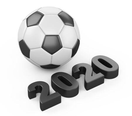 Football 2020. Clasic soccer ball 3d illustration sign isolated on white background.