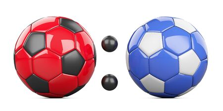 Soccer match score 0:0 from two soccer balls red and blue. 3d illustration isolated on a white background. 写真素材