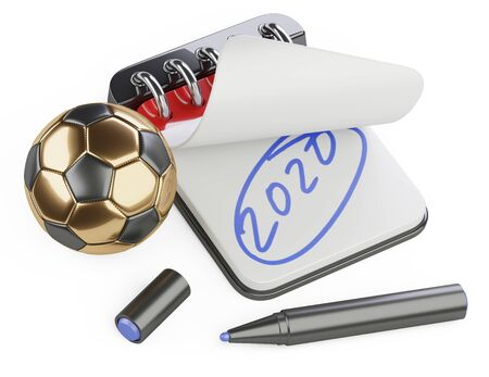 An open notebook with the inscription 2020 and a nearby golden soccer ball. Plans for the UEFA Euro. 3d illustration isolated on a white background.