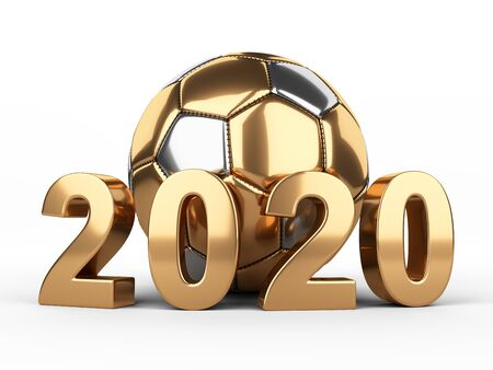 Football 2020. Golden soccer ball 3d illustration sign isolated on white background. Stock fotó