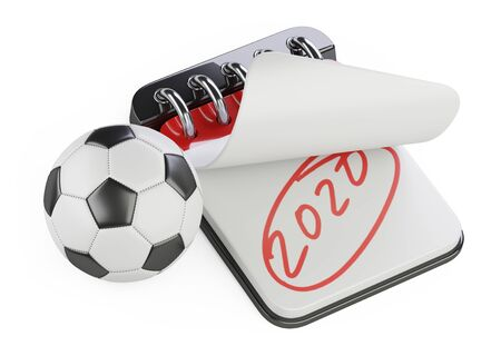 An open notebook with the inscription 2020 and a nearby soccer ball. Plans for the UEFA Euro. 3d illustration isolated on a white background. Stock fotó