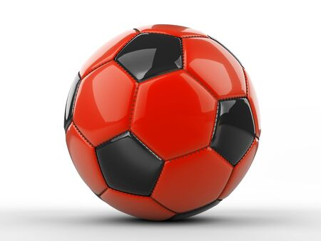 Red with black soccer ball icon. 3d illustration isolated on a white background. Stock fotó
