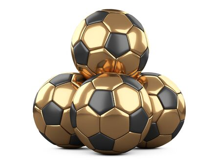 Pile of golden soccer balls, one ball on top - leadership concept. Isolated on white background. High resolution 3d illustration on a white background. Stock fotó