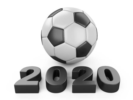 Football 2020.Classic soccer ball 3d illustration sign isolated on white background.
