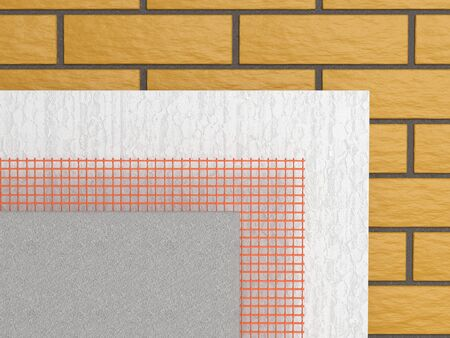 Set for insulation of walls of polystyrene block mesh and plasters - front view. 3d  illustration on a white background.