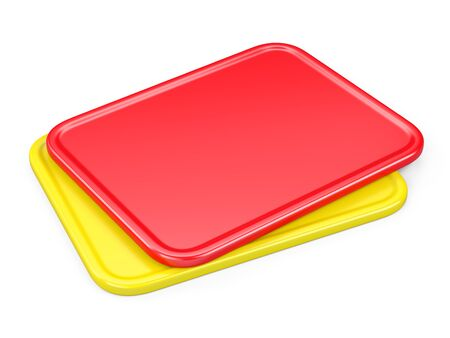 Red and yellow cards. 3d illustration isolated on white background.