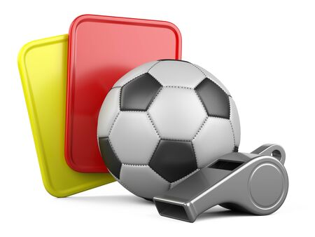 Soccer ball, referee whistle with yellow and red cards. 3d illustration isolated on white background.