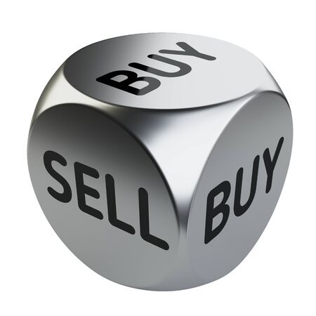 Buy or sell dice, investing and  trading concept. 3D illustration isolated on white background.