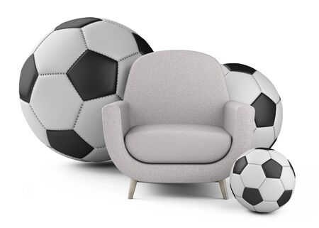 Armchair and nearby soccer balls big and small. The main place of the fan - male den. 3D illustration isolated on white background. Stock Photo