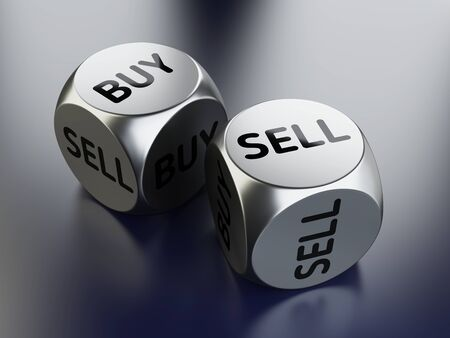 Buy or sell dices, investing and trading concept. 3D illustration on black background.