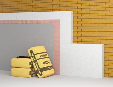 Set for insulation of walls of polystyrene block mesh and plasters. 3d  illustration on a white background.