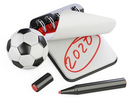 An open notebook with the inscription 2020 and a nearby golden soccer ball. 3d illustration isolated on a white background. Stock fotó
