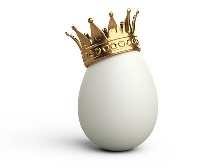 White egg with gold crown. 3d illustration isolated on white background. Stock Photo