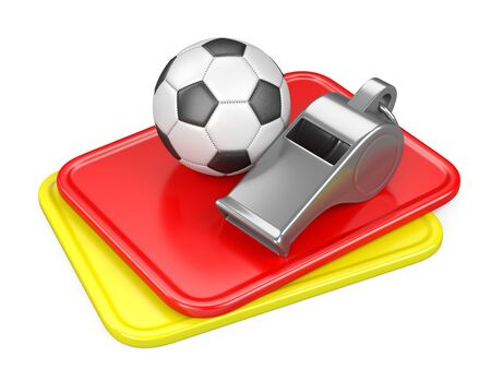 Referee whistle with soccer ball, yellow and red cards. 3d illustration isolated on white background. Stock fotó