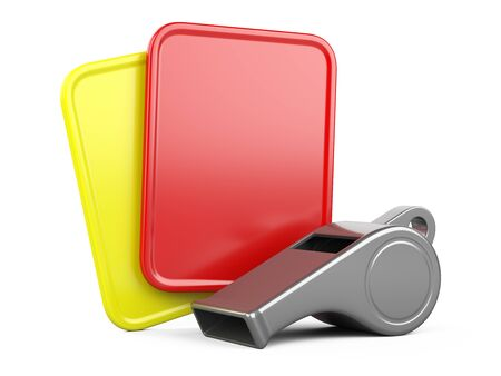 Referee whistle with yellow and red cards. 3d illustration isolated on white background.