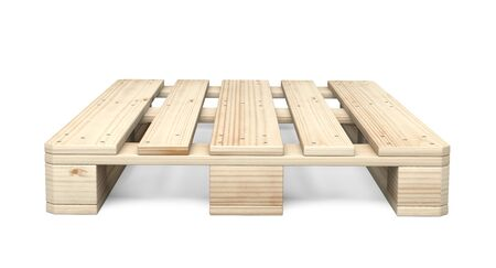 Wooden Euro pallet was not in use. Front view. 3d illustration isolated on a white background.