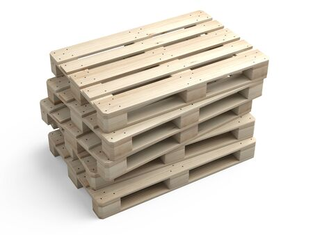 A stack of new wooden pallets. 3d illustration isolated on a white background.