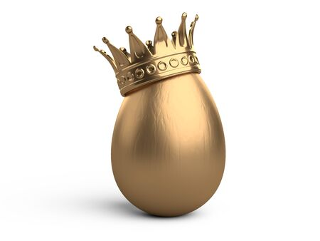 Golden egg with gold crown. 3d illustration isolated on white background. Stock Photo